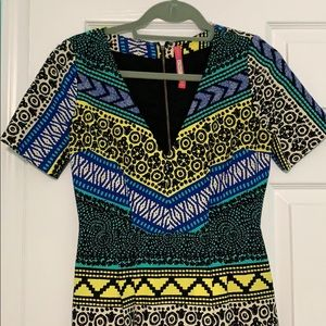 Bright color, tribal patterned Anthropologie dress